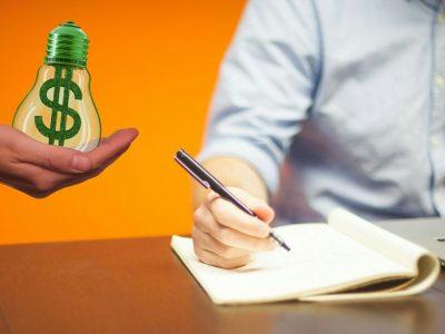 """marijuana business copywriting"" represented by writer and money light bulb"